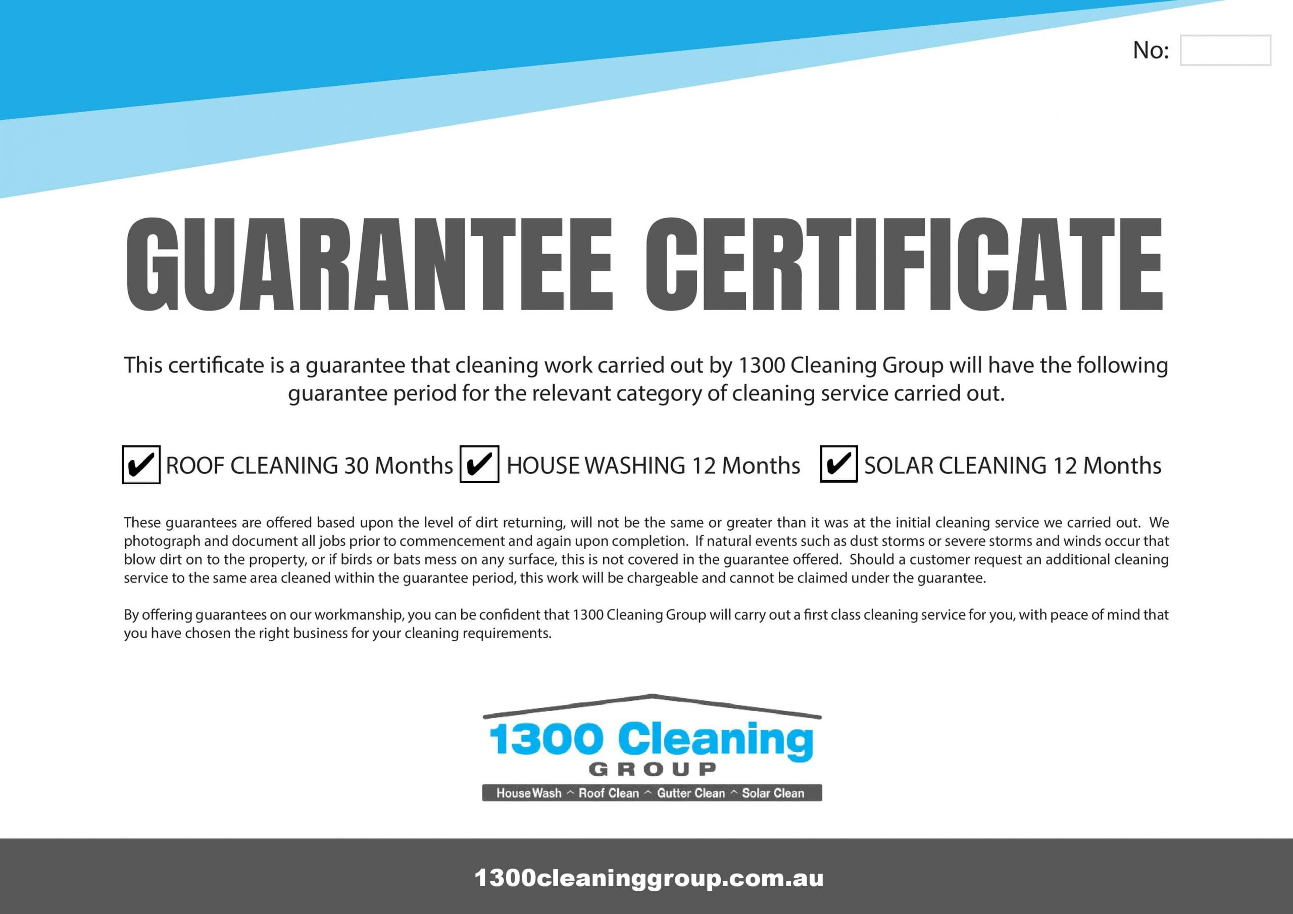 1300 Cleaning Group Warranty